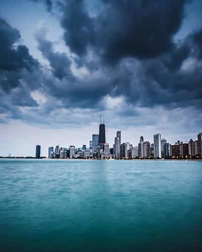 Lake Michigan and the Chicago skyline